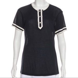 Frame Navy and White Collarless Short Sleeve Tee